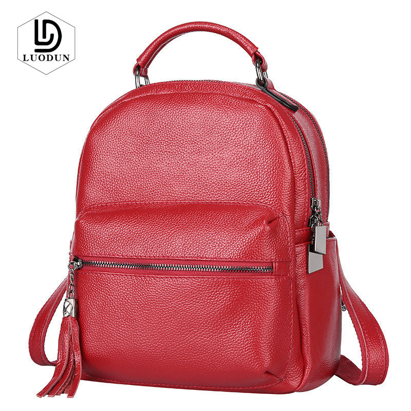 LUODUN Brand New Genuine Leather female bag the first layer of leather tassel shoulder bag British fashion backpack school bag korean version of the first layer of leather vertical section square shoulder messenger bag in the bag fashion casual tassel lea