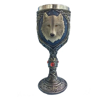 Creative Drinkware Resin Stainless Steel 3D Wolf Head Coffee Mug Wine Goblet Cup Drinking Supplies Coffee Kitchen Bar Tools