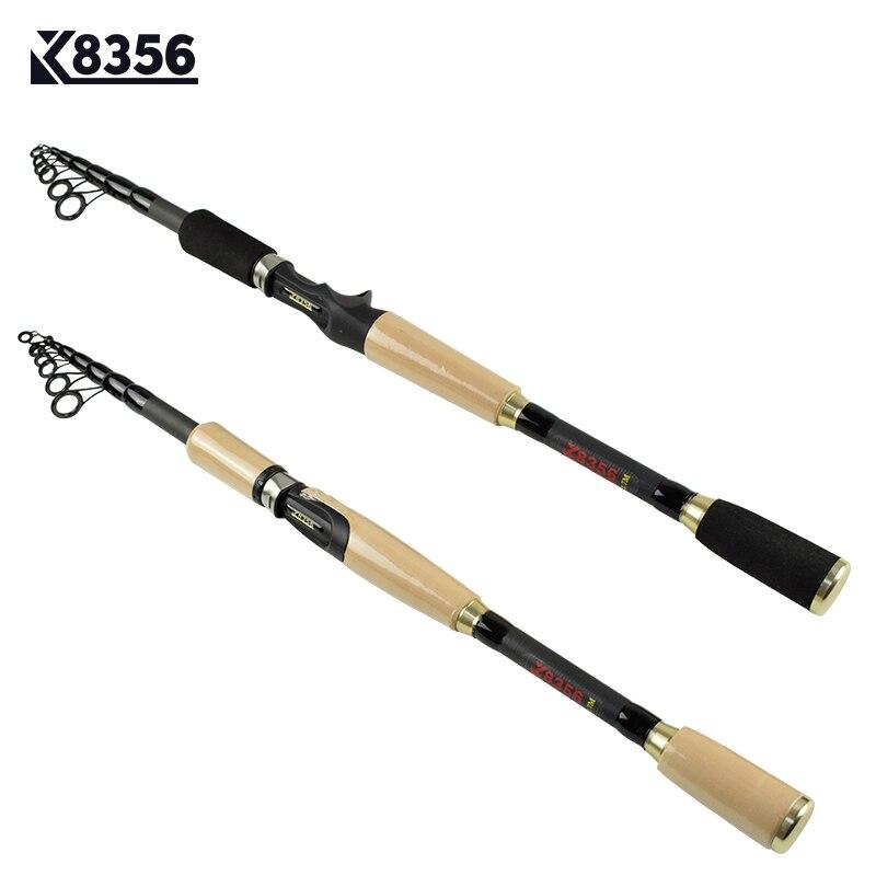 K8356 99% Pêche Au Leurre de Carbone Tige 1.8 M 2.1 M 2.4 M 2.7 M Portable Télescopique Spinning De Pêche Main Pôle Fiber De carbone Casting Rod