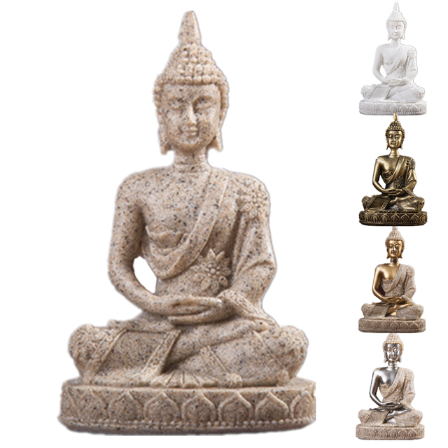 VILEAD 11cm Nature Sandstone India Buddha Statue Fengshui Sitting Buddha Sculpture Figurines Vintage Home Decor Use for Aquarium 3