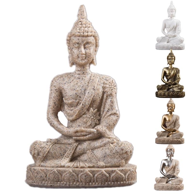 VILEAD 11cm Nature Sandstone India Buddha Statue Fengshui Sitting Buddha Sculpture Figurines Vintage Home Decor Use