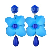 Luxury Korean Fashion Alloy Colorful Long Big Flower Drop Resin Acrylic Beads Bohemian Dangle Earring For Women Jewelry