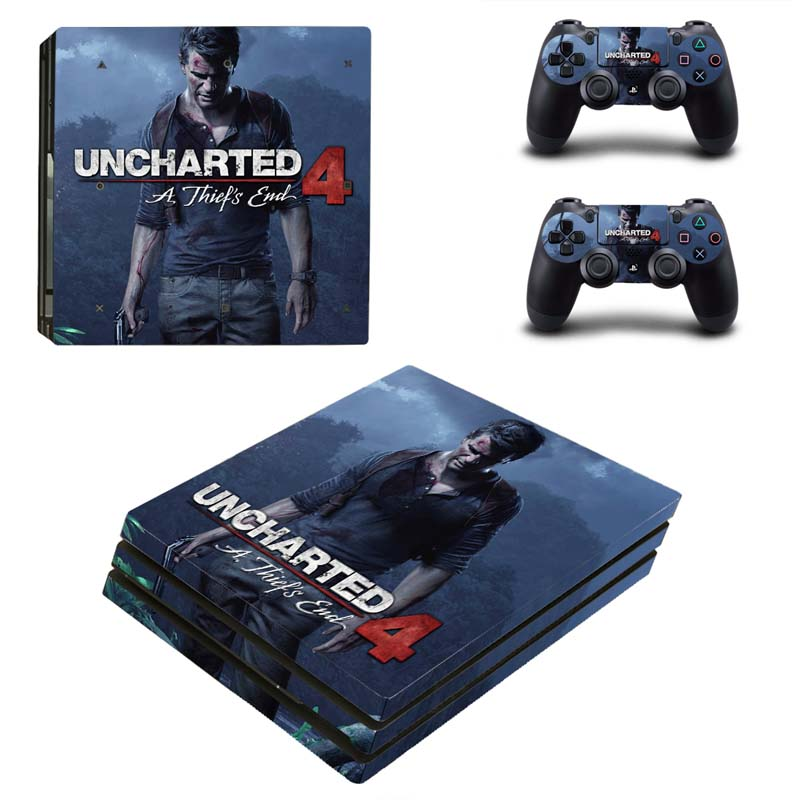 Uncharted 4 Vinyl Decal Console Mod Kit By System Skins for Sony PlayStation 4 Pro Skin PS4 Pro Stickers