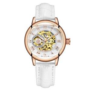 Image 1 - ORKINA montre de luxe pour femmes, horloge mécanique, avec bracelet blanc, boîtier en or, marque de luxe, collier en perles