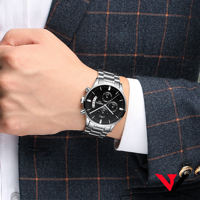 Relogio Masculino NIBOSI Sports Watches For Men Military Army Analog/Chronograph Men Watch Stainless Steel Dress Male Clock Saat 5