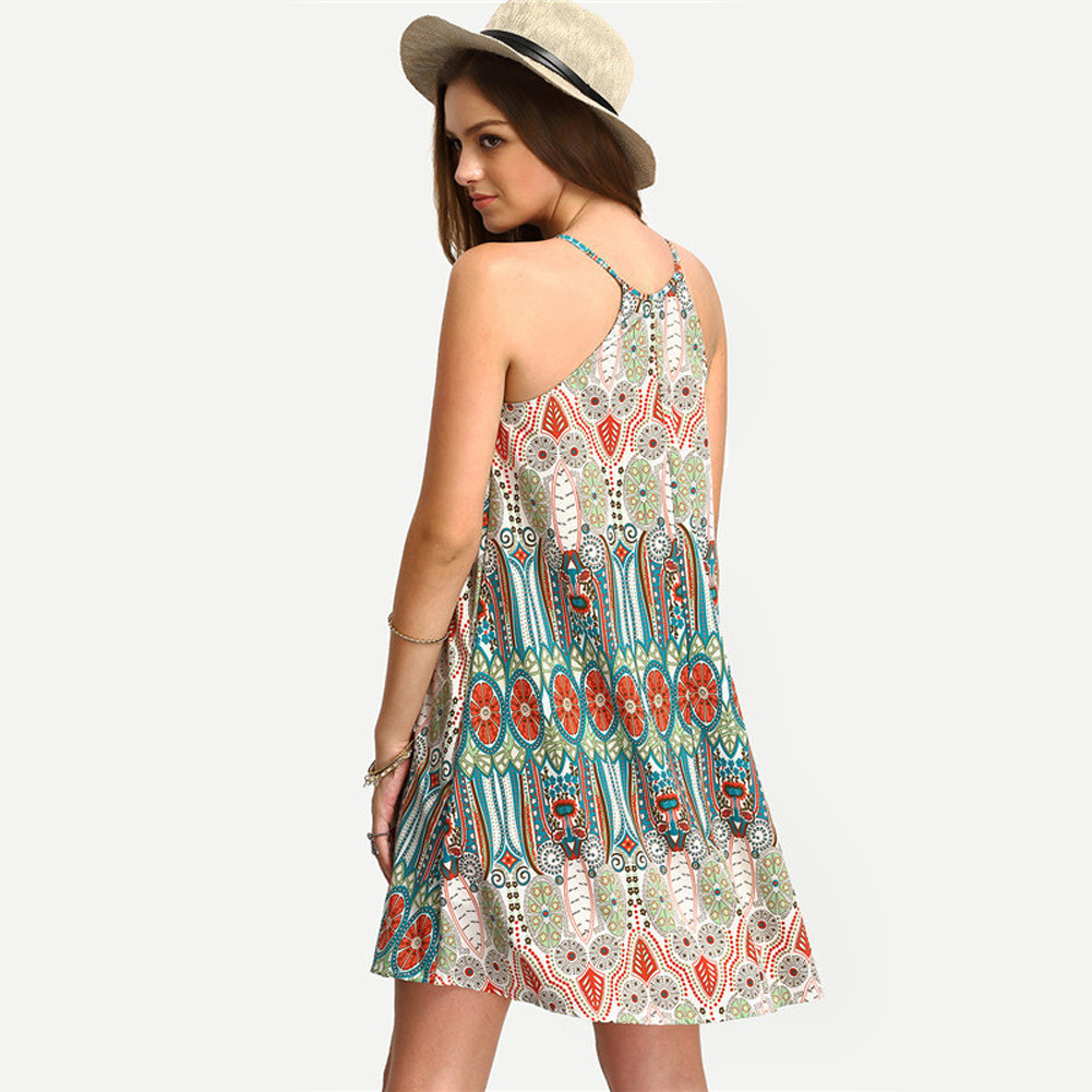 Women Beach Dress Vintage Sexy Cover-Up Summer Mini Dress Evening Party Cocktail New Cover Ups Pareo Beach Wear  5