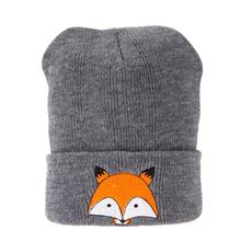 Childrens Cartoon Fox Design Knitted Beanie Cap