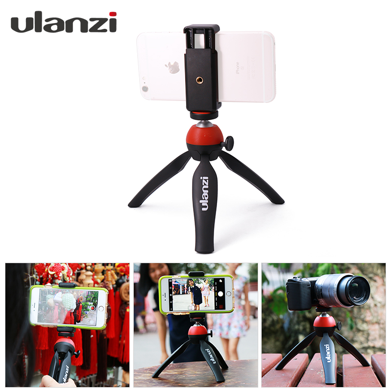 Ulanzi Mini Portable Tripod Stand Mount with Holder Desktop Self-Tripod for iphone 7 plus Android Smartphone smartphone tripod mount ulanzi iron man aluminum metal universal smart phone tripod adapter holder clip for iphone 7 plus