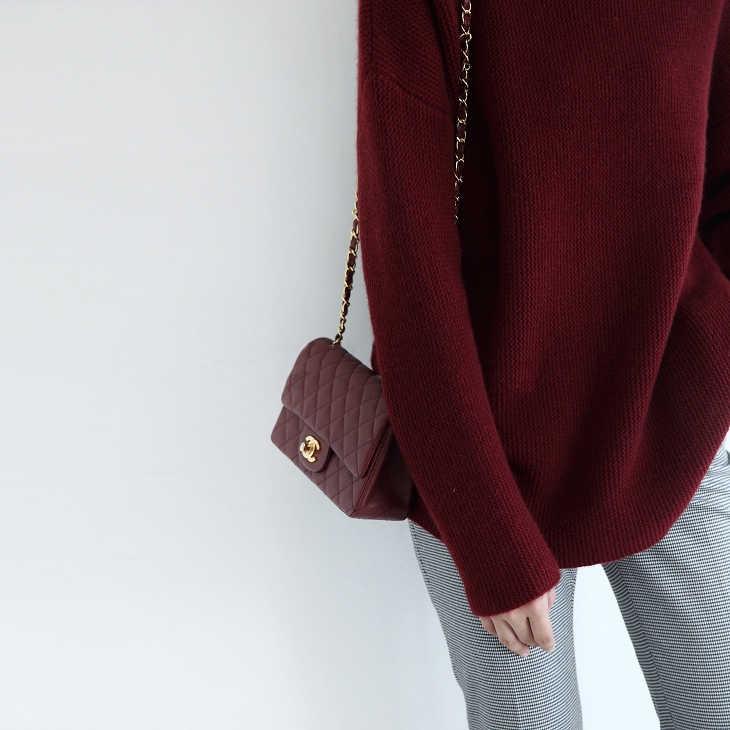 100% Cashmere dan Wol Sweter Wanita dan Jumper Longgar Gaya Berleher Tinggi Wanita Pullover Wol Rajut 4 Warna Pakaian Wanita Top