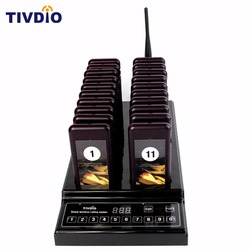 TIVDIO 999 Channel Wireless Pager Restaurant 20 Paging Queuing System Call Button Pager Restaurant Equipment Coaster Pager F9402