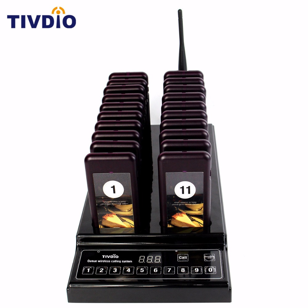 TIVDIO Wireless Pager Restaurant 20 Paging Queuing System Call Button Pager 999 Channel Restaurant Equipment Coaster Pager F9402 2 receivers 60 buzzers wireless restaurant buzzer caller table call calling button waiter pager system