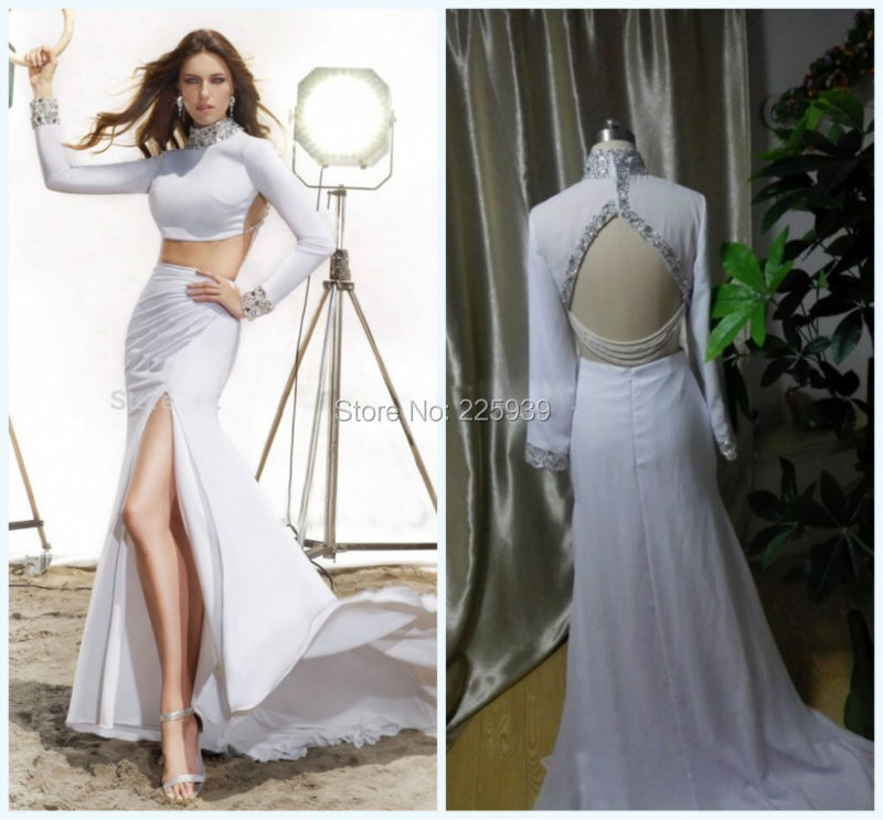 New Arrival High Neck Crystal Rhinestone White Two Piece High Slit ...