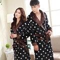 Polka Dot Impressão Casal Amantes de Flanela roupões Roupão Outono Inverno Quente Grosso Roupões De Banho Para Mulheres Homens Roupa Em Casa