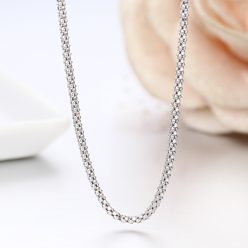 """Windshow 14""""-32"""" 925 Sterling Silver Popcorn Chain Short Choker Necklace Women Girls Jewelry Colar Collier Collares Mujer Kolye"""