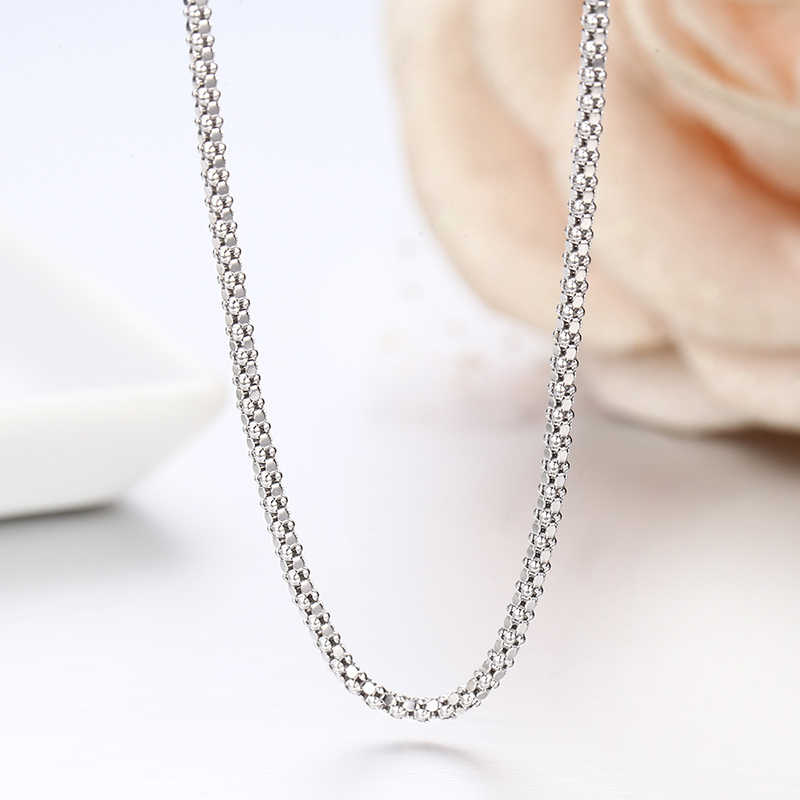 "Windshow 14""-32"" 925 Sterling Silver Popcorn Chain Short Choker Necklace Women Girls Jewelry Colar Collier Collares Mujer Kolye"