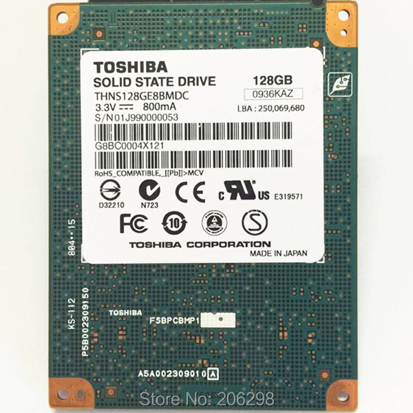 Original For Toshiba 1.8 LIF Zif 128GB SSD THNS128GE8BMDC Replace HS12UHE For air For VPCP VPCP119