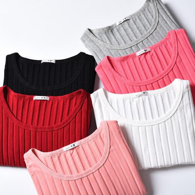 Women Autumn Winter Long Tee Shirt Basic Long Sleeve Rib T-Shirts Female Bottoming Tops Plus Size M- 3XL Women Tshirts Feminina