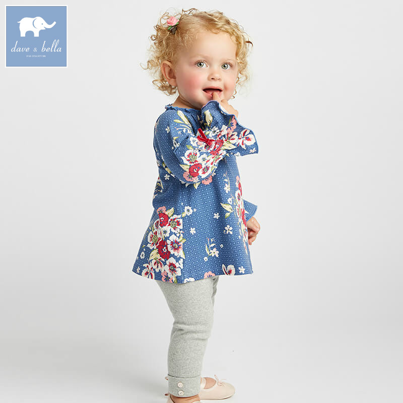 DBA8009 dave bella autumn infant baby girls fashion lovely floral suits kids long sleeve clothing sets children 2 pcs suit db3704 dave bella autumn baby girls floral clothing sets kids flower clothing sets toddle cloth kids sets baby costumes