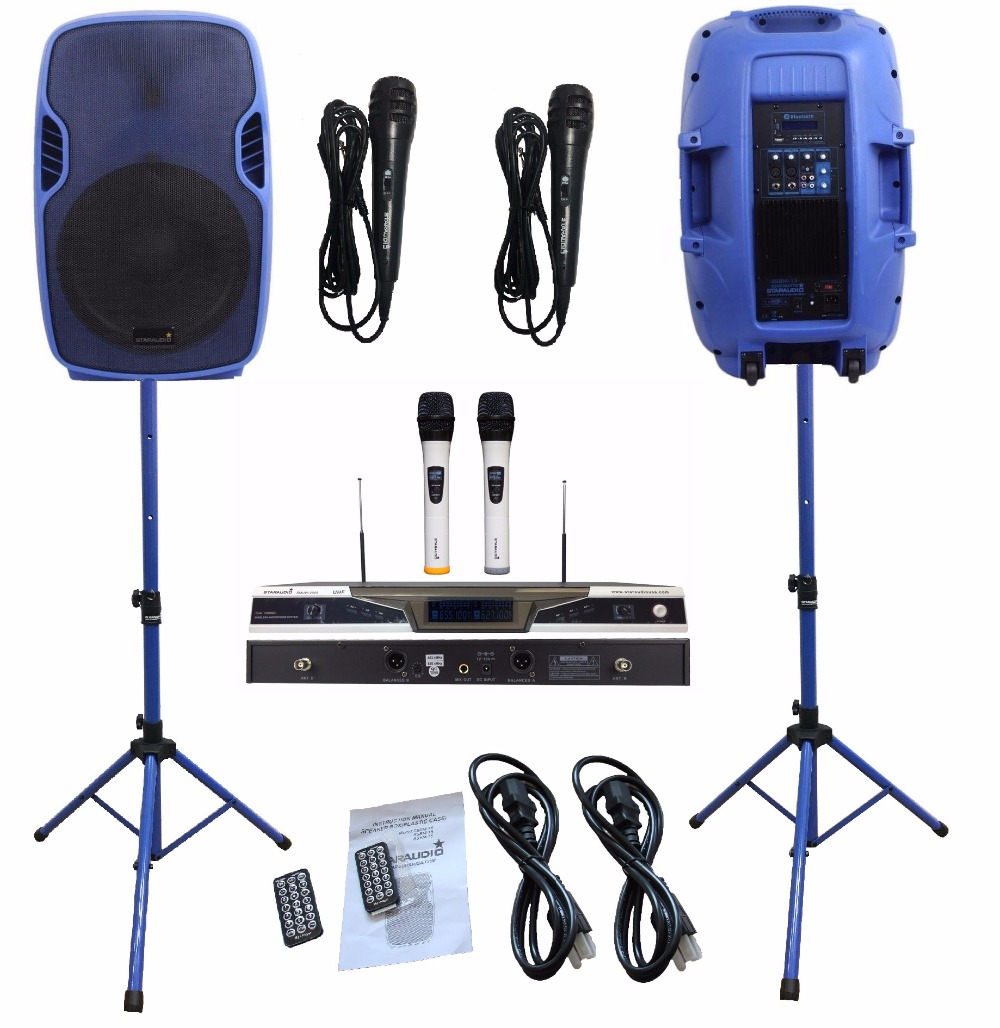2Pcs STARAUDIO Blue 3500W 15inch PA DJ Powered Active BT SD USB Speakers W/2CH UHF Wireless Mics Stands Wired Microphone SSBM-15