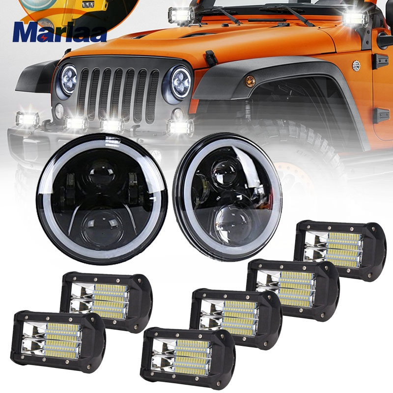 Marlaa Angel Eye 7 Inch Round LED Headlights DRL Amber Turn Singal With 6pcs 72w 5Inch Led Worklight For 07-17 Jeep Wrangler 7 inches led starry headlights with devil demon eye and led angel for jeep wrangler jk 2 pcs