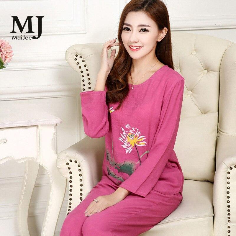 X026 MaiJee Two Piece Pijama Women Pyjama Femme Combinaison Pyjama Pigiama пижама Mother cotton silk pajamas set nightwea in Pajama Sets from Underwear Sleepwears