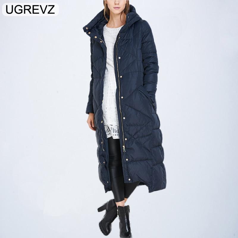 UGREVZ 2018 New   Parkas   Winter Fashion Women Long Hooded Down Jacket Female Maternity Coat Worm Cotton Coat Camouflage Outerwear