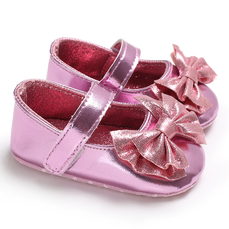 2018 new Bling cute bow infant baby girls shoes PU first walkers mary jane soft sole party princess crib baby shoes