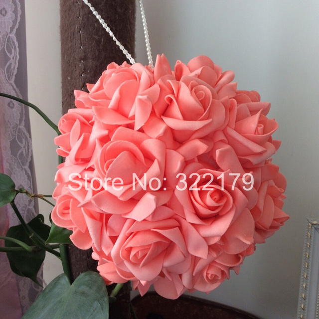 100 Pcs Coral Wedding Flowers Foam Roses For Wedding Decorations Coral  Kissing Ball Pomander Flowers Coral