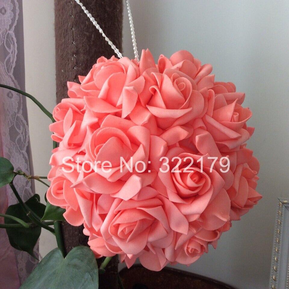 unids coral rosas de la boda flores de la boda de espuma kissing bola