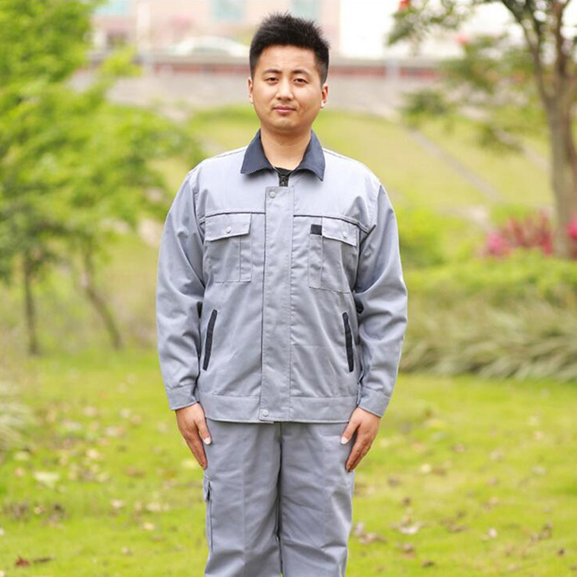 Light gray Tibetan green collar hit color long sleeved overalls font b clothing b font repair