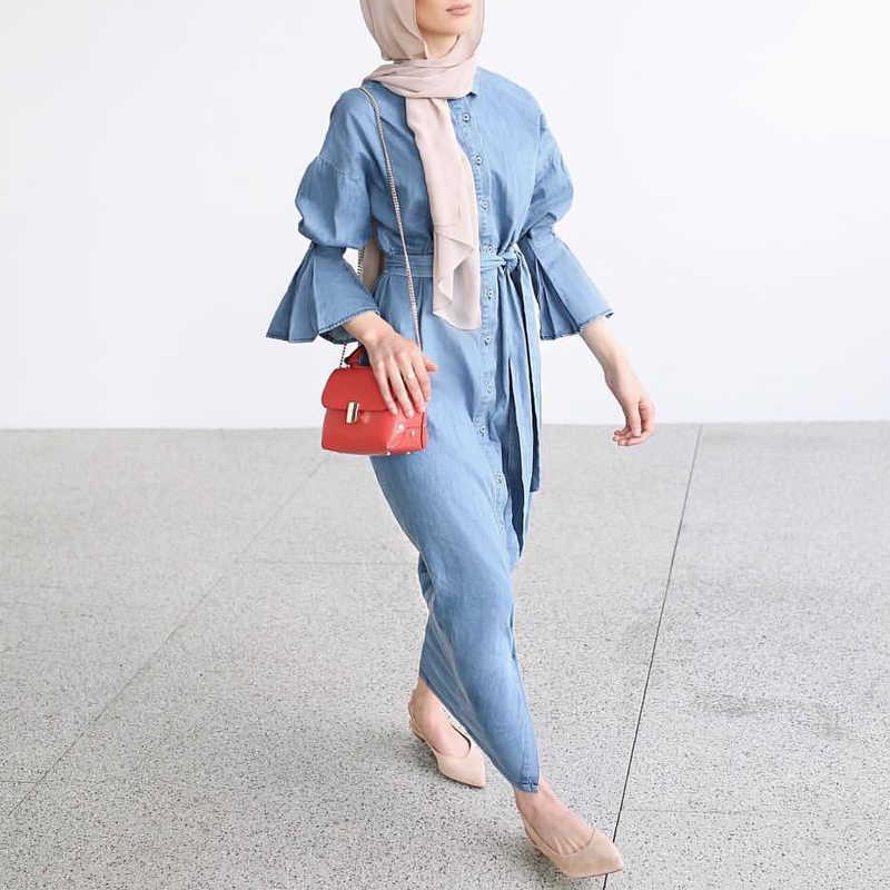 Джинсовый Кафтан Дубай Абая кимоно мусульманское платье хиджаб Абая для женщин халат Восточный халат из марокена Катара Турецкая Elbise Исламская одежда