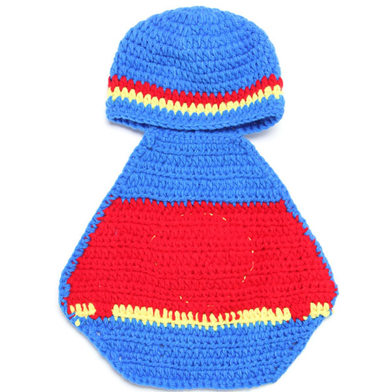 89ddca31b7d Newborn Crochet Superman Design Costume Set Baby Photography Props  Hat Cover Hand Knitted Baby Beanie Hat 1set H036-in Hats   Caps from Mother    Kids on ...