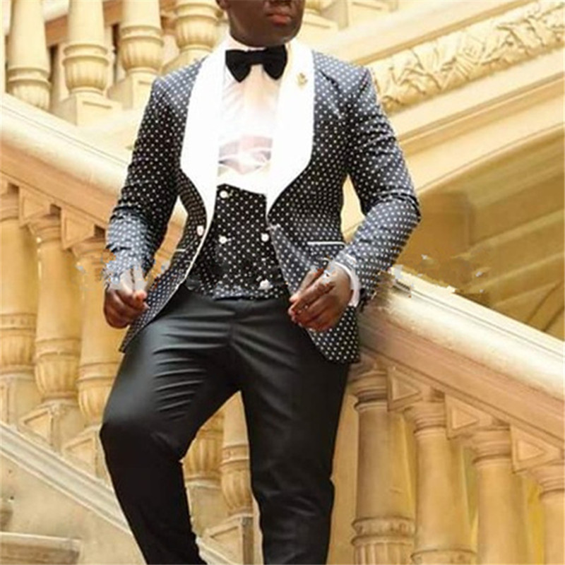 Fit 3 Solapa Tie Boda Piezas Negro Por Chaleco Picture Punto Hombres La  Occation Slim chaqueta Encargo Pantalones Para Blazer Tuxedo As Traje Blanco  ... 93e6283f795