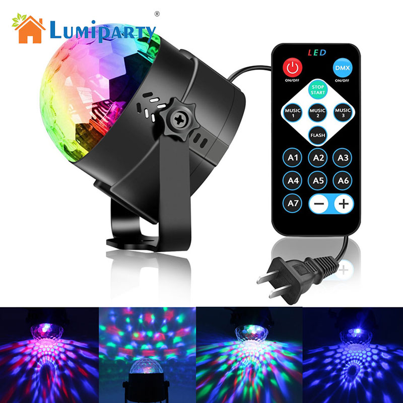 LumiParty 85-265V 3W LED Party Lights RGB Sound Activated Lamp Karaoke Machine Strobe Dance Light Disco DJ Ball Lights Newest