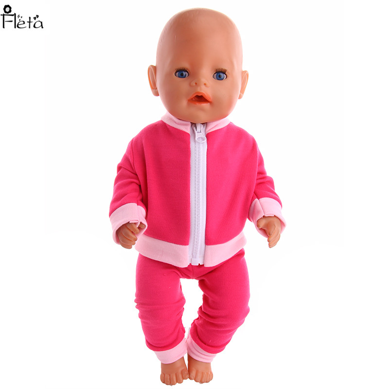 Fleta 2018 3color Sport and leisure suit fit 43cm Baby Born Zapf or 18 american girl Doll accessories b216-218