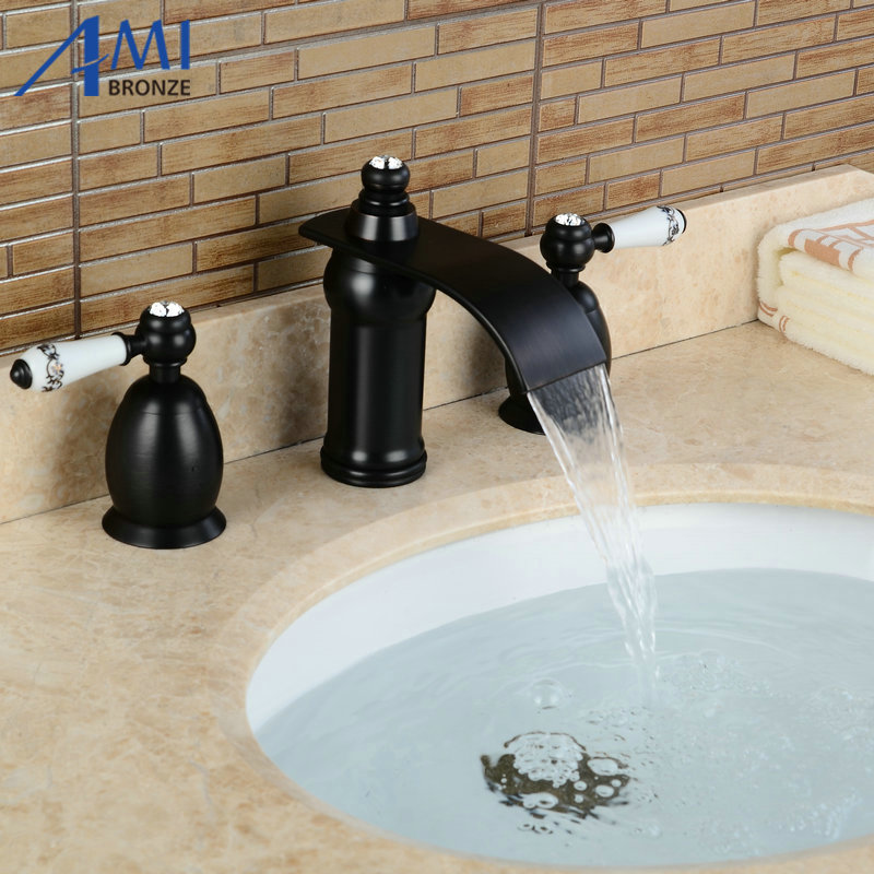 3Pcs Waterfall Faucet Blacked Basin Faucets Deck Mounted Bathroom Tap Sink or Bathtub Faucet  Double handles Faucet BA11 3pcs waterfall faucet black basin faucets deck mounted bathroom tap sink bathtub faucet 2 handles faucet mixer crane
