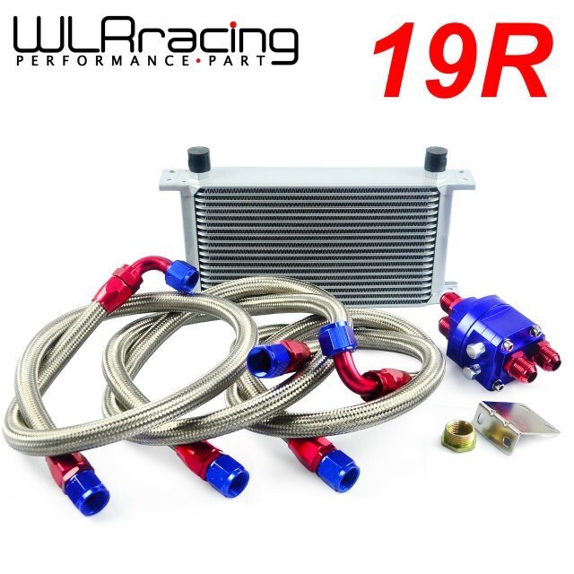 WLRING STORE- UNIVERSAL 19 ROW AN10 ENGINE TRANSMISS OIL COOLER KIT +FILTER RELOCATION BLUE an10 7 row universal engine transmission oil cooler hose end kit