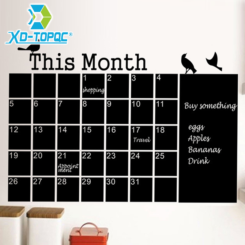 Wall Calendar Stickers Office Chalkboard PVC Removable Blackboard Month Plan Memo Black Message Board Free Shipping