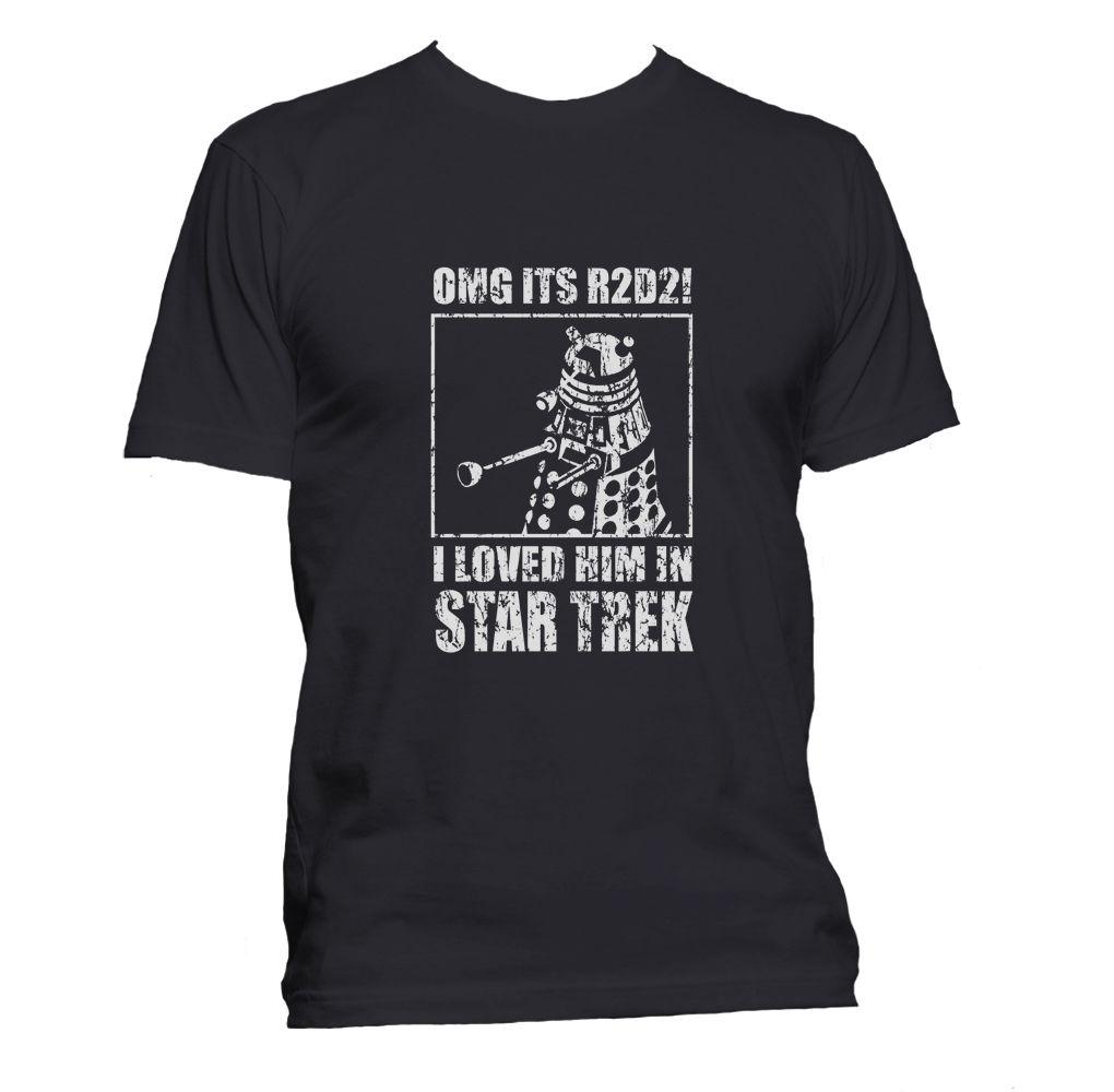 a766f68ab86 Новый R2D2 далек Звездные войны Доктор Кто звезда Забавный Футболка Geek  пародия Бесплатная доставка футболка с
