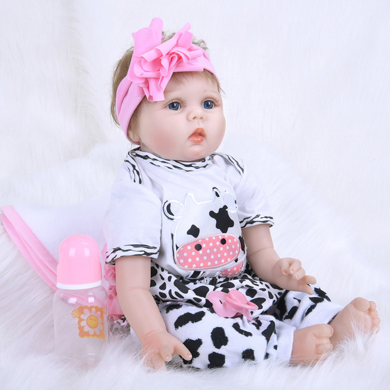 55CM Reborn Dolls with Pastoral Dress for Girls Handmade Collectible Toys font b Bebe b font
