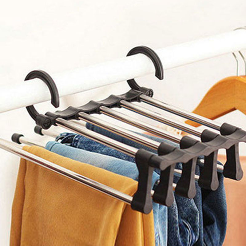 5 In 1 Stainless Clothes Trousers Towels Storage Holder Stand Rack Adjustable Extension Wardrobe Hanger Hook Home Organizer