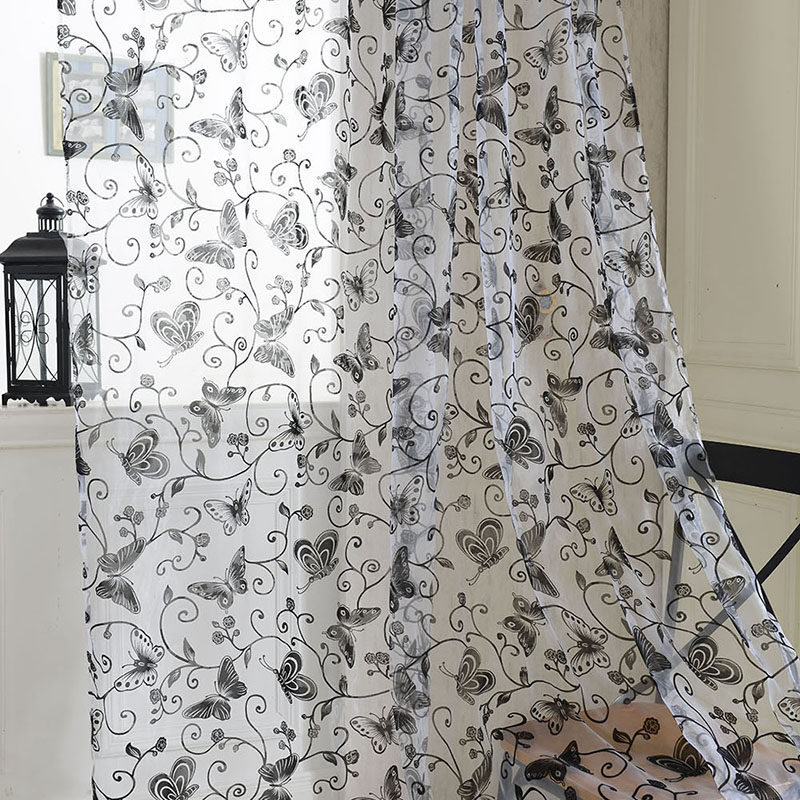 Hot Sales Hot Window Room Butterfly Voile Door Curtain Panel Divider Sheer Curtain 1*2M 5576