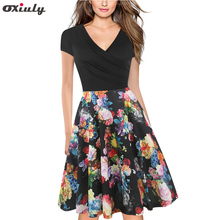 цены Oxiuly Vintage Contrast Color Patchwork Wear to Work Flower Print vestidos Bodycon Office Business A-Line Women Dress