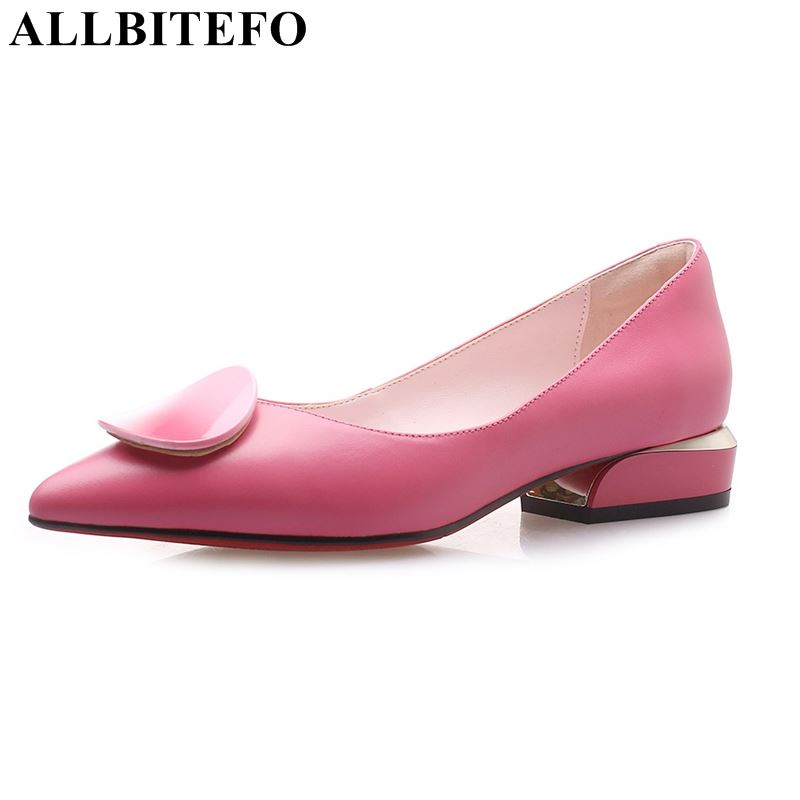 ALLBITEFO Brind Genuine Leather Women Heels Shoes Pointed Toe Low Heel Shoes Spring Heels Girls Fashion Causual Shoes Woman