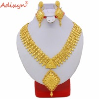 Adixyn Indian Long Necklace/Earrings Jewelry Set For Women Gold Color African/Dubai/Arab Wedding Jewelry Gifts N060812
