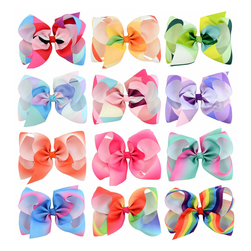 6'' grosgrain ribbon hair bows WITH alligator hair clips boutique rainbows bow girls hairbow For Teens Gift 12pcs/lot 2542 3 5 inch grosgrain ribbon hair bow diy children hair accessories baby hairbow girl hair bows without clip 16pcs lot