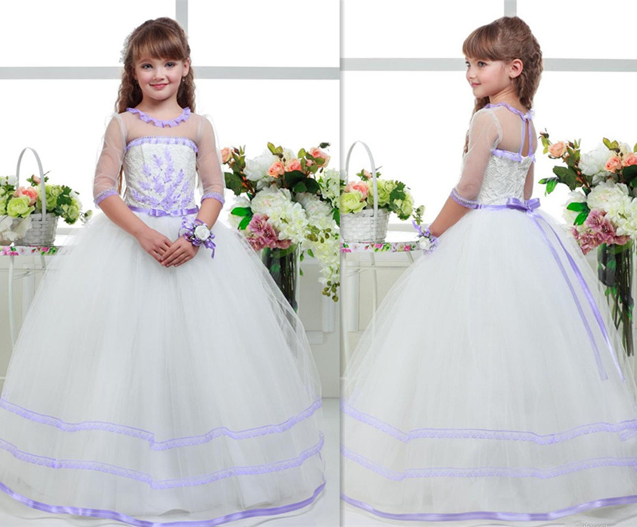 2018 Beautiful Purple and White Flower Girls Dresses Beaded Lace Up Back Appliqued Pageant Gowns for Kids Wedding Party beautiful darkness