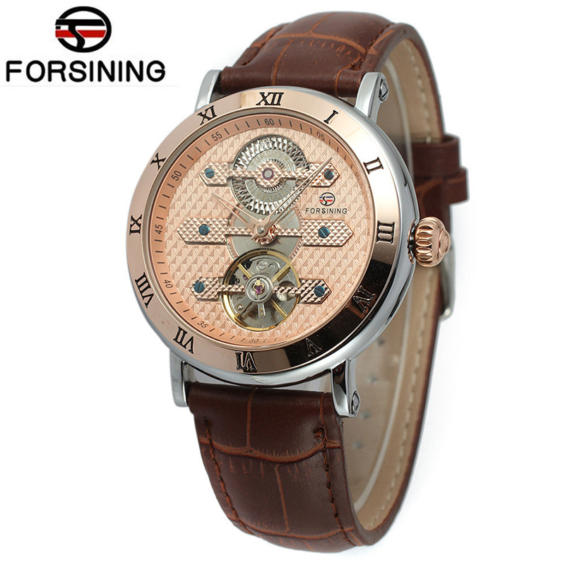 New Forsining Watch Men's Reloj Hombre AutoToubillion Mechanism Wristwatch PU Leather Strap Gift Box Free Ship