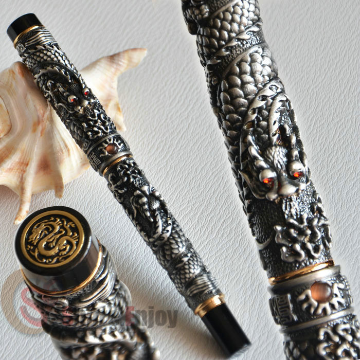JINHAO OLD GREY TWO DRAGON PLAY PEARL FINE NIB FOUNTAIN PEN CRYSTAL jinhao business gifts writing ink pen black with old grey snake wind medium 18kgp nib 3d metal fountain pen