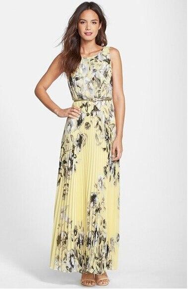 Tank O-Neck Chiffon Ankle-Length Long Dress Elastic Waist Light Yellow  Casual Dress 85be08c78713